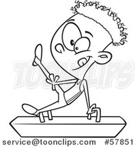 Cartoon Outline of Boy Gymnast on a Pommel Horse by Toonaday
