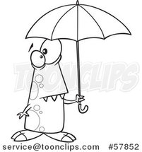 Cartoon Outline of Shower Ready Monster Holding an Umbrella by Toonaday