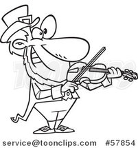 Cartoon Outline of Leprechaun Playing a Violin by Toonaday