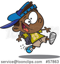 Cartoon Energetic Black School Boy Running by Toonaday