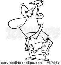 Cartoon Outline of Businessman Carrying a Confidential File Folder by Toonaday