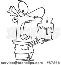 Cartoon Outline of Man Swallowing an Entire Birthday Cake by Toonaday