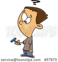 Cartoon White Boy Holding a Razor and Preparing to Shave for the First Time by Toonaday