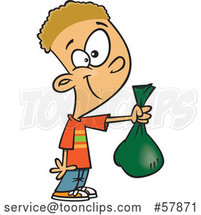 Cartoon White Boy Holding out a Bag by Toonaday