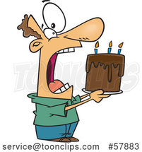 Cartoon White Guy Swallowing an Entire Birthday Cake by Toonaday