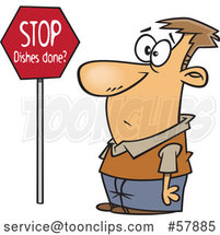 Cartoon Guy Looking at a Stop Dishes Done Sign by Toonaday
