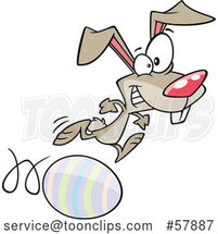 Easter Cartoon Bunny Running on and Rolling an Egg by Toonaday