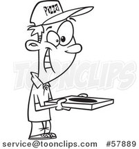 Cartoon Outline of Happy Pizza Delivery Man Holding a Box by Toonaday