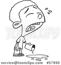 Cartoon Outline of Boy Crying over Spilled Milk by Toonaday