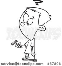 Cartoon Outline of Boy Holding a Razor and Preparing to Shave for the First Time by Toonaday
