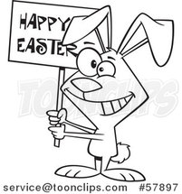 Cartoon Outline of Bunny Holding a Happy Easter Sign by Toonaday