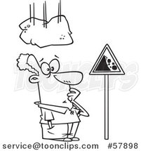 Cartoon Outline of Boulder Falling on a Man Staring at a Sign by Toonaday
