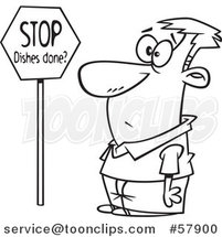 Cartoon Outline of Man Looking at a Stop Dishes Done Sign by Toonaday