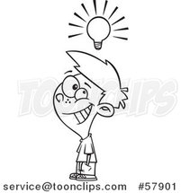 Cartoon Outline of Smart Boy Under a Light Bulb by Toonaday