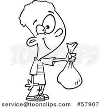 Cartoon Outline of Boy Holding out a Bag by Toonaday