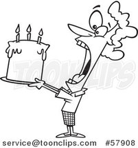 Cartoon Outline of Lady Swallowing an Entire Birthday Cake by Toonaday