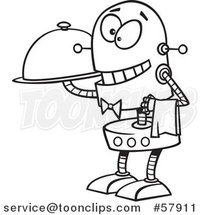 Cartoon Outline of Waiter Robot Holding a Cloche Platter by Toonaday