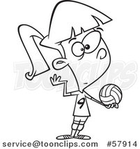 Cartoon Outline of Girl Serving a Volleyball by Toonaday
