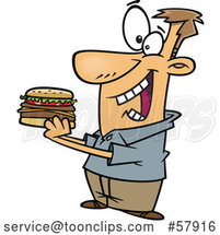 Cartoon White Guy Eating a Hamburger by Toonaday