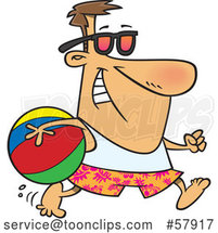 Cartoon White Guy in Summer Gear, Running with a Beach Ball by Toonaday