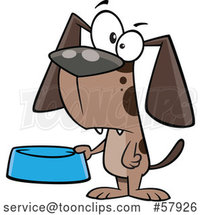 Begging Cartoon Dog Holding a Food Bowl by Toonaday