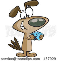 Cartoon Dog with a Poker Face, Playing Cards by Toonaday