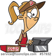 Cartoon Young White Lady Selling Donuts by Toonaday