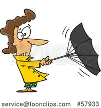 Cartoon White Lady Trying to Hold onto an Umbrella on a Windy Day by Toonaday