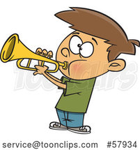 Cartoon White Boy Playing a Trumpet by Toonaday