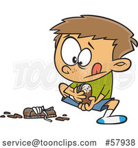 Cartoon White Boy Pulling off His Muddy Shoes by Toonaday