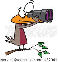 Cartoon Bird Looking Through Binoculars, Birdwatching by Toonaday