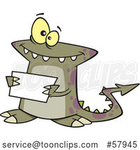 Cartoon Welcoming Monster Holding a Sign by Toonaday