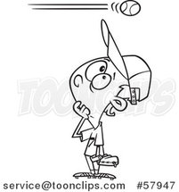 Cartoon Outline of Baseball Player Boy Watching a High Ball Go over His Head by Toonaday