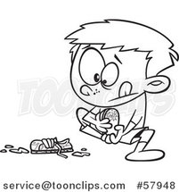 Cartoon Outline of Boy Pulling off His Muddy Shoes by Toonaday