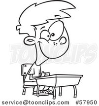 Cartoon Outline of Happy Boy Sitting at His School Desk by Toonaday