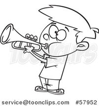 Cartoon Outline of Boy Playing a Trumpet by Toonaday