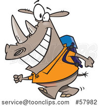 Cartoon Happy Rhinoceros Student Walking to School by Toonaday