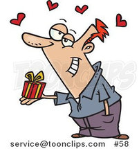 Cartoon White Guy Holding a Valentine's Day Gift, Hearts Above His Head by Toonaday