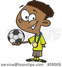 Cartoon Black Boy Soccer Champion Holding a Ball by Toonaday