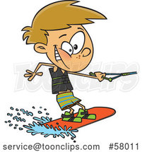 Cartoon White Boy Wakeboarding by Toonaday