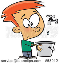 Cartoon White Boy Holding a Pail Under a Faucet, Drop in the Bucket by Toonaday
