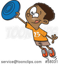 Cartoon Black Boy Catching a Frisbee by Toonaday