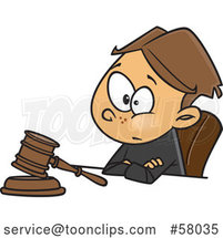 Cartoon White Boy Judge Sitting with a Gavel by Toonaday