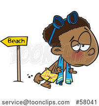 Cartoon Depressed Boy Leaving the Beach After Summer Vacation by Toonaday