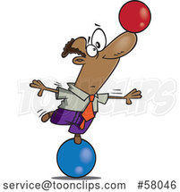 Cartoon Businessman on a Ball, Balancing Another on His Nose by Toonaday