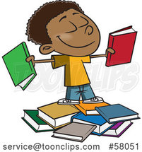 Cartoon Happy Black School Boy with Books by Toonaday