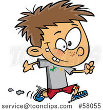 Cartoon Boy Running with Splatters on His Shirt by Toonaday