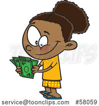 Happy Cartoon Girl Counting Her Cash Money by Toonaday