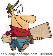 Cartoon Happy Carpenter Carrying a Board by Toonaday