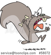 Cartoon Raging Carnivorous Squirrel Holding a Bone by Toonaday